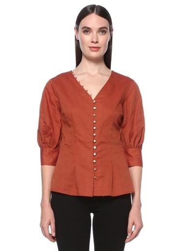 NetWork NetWork 1075391 Pamuklu Slim Fit V Yaka Truvakar Kol TarÇın  Kadın Gömlek Kahve